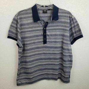 Hugo Boss Polo Shirt Blue White Stripe Medium